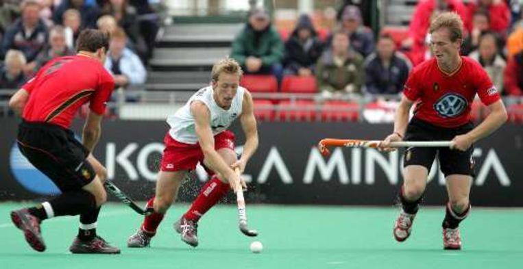 Kapitein Thomas Van Den Balck (rechts) hier op het schitterende EK in Manchester 2007 waar de Belgische hockeyheren brons haalden. Beeld UNKNOWN