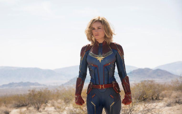 Brie Larson als Captain Marvel: ze kreeg op sociale media al een hoop negatieve commentaar over zich heen. Vooral van mannen, dat spreekt. Beeld Disney