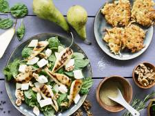 Wat Eten We Vandaag: Krokante aardappelrösti met peer en gorgonzola