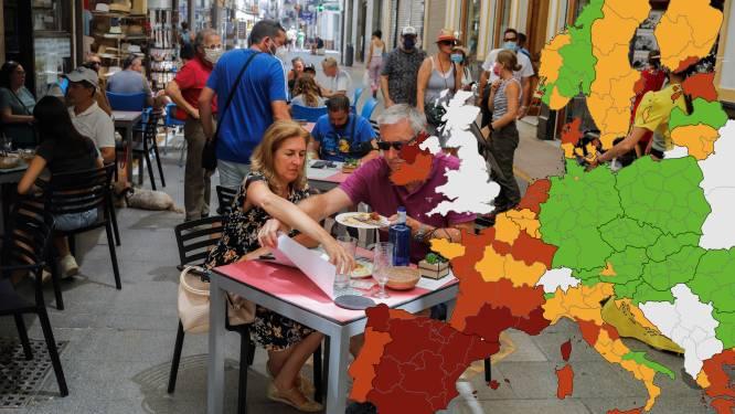 Franse en Spaanse regio's kleuren donkerrood op Europese coronakaart