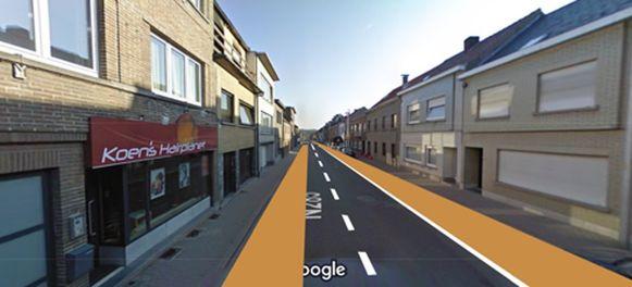 Een toekomstbeeld van de Assesteenweg tussen het station en de Kerkstraat. De parkeerstrook verdwijnt er om plaats te maken voor fietssuggestiestroken.