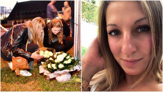 De beste vriendinnen van Sharon Gruwez legden na haar dood bloemen neer op de plek van de crash.