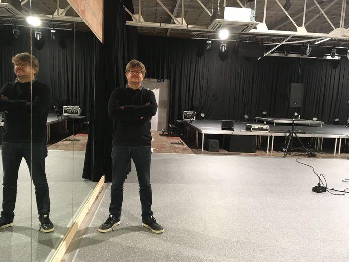 Vincent Welvaert in de nieuwe polyvalente zaal van Muziekcentrum Goedleven in Oostakker.