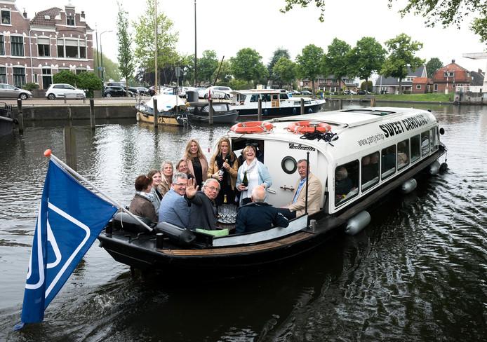 Woerden - Proefvaart met de nieuwe rondvaartboot de 'Story Boat' (Foto Marnix Schmidt)