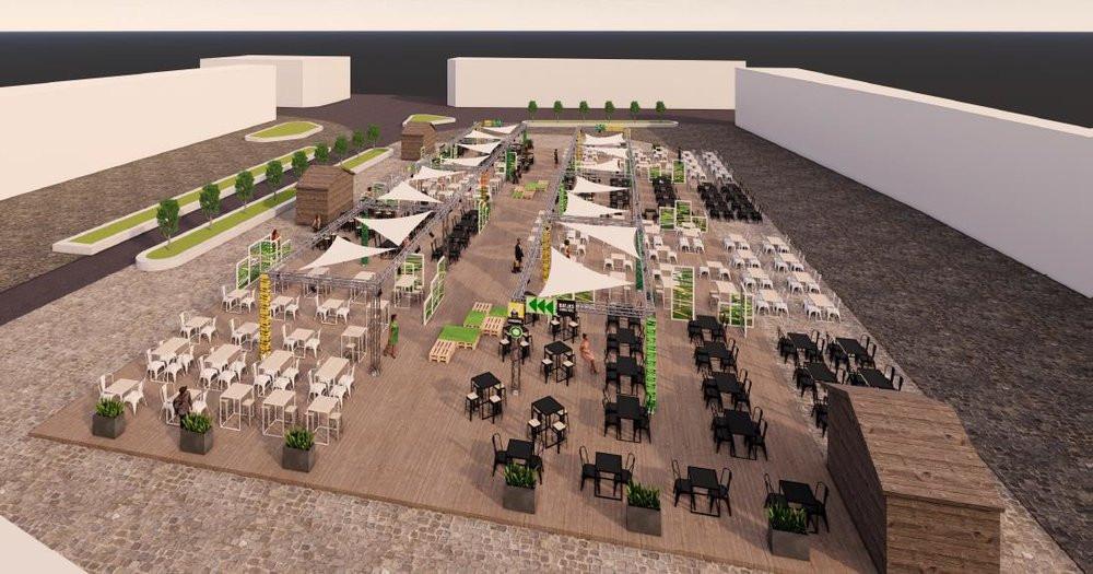 Een simulatie van het terras dat straks op de Grote Markt verrijst.