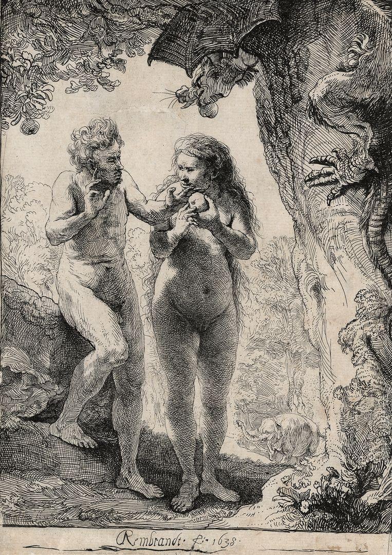 Adam en Eva (1638) van Rembrandt met op de achtergrond Hansken. Beeld
