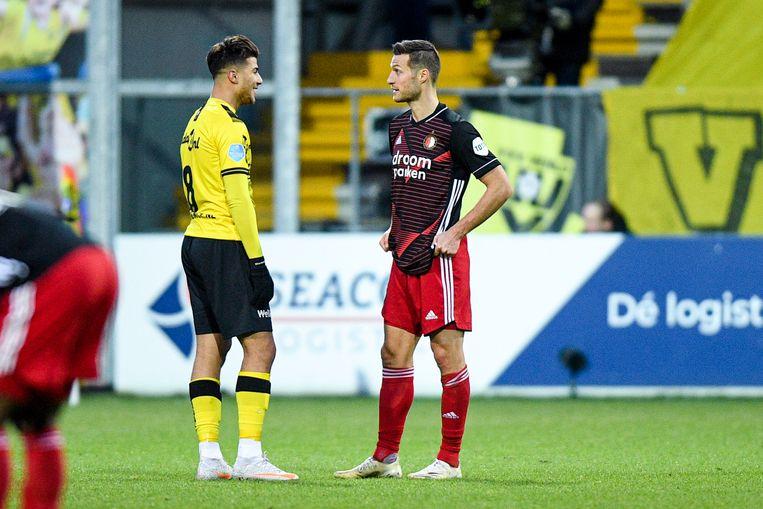 Zinedine Machach van VV Venlo en Uros Spajic van Feyenoord.  Beeld BSR Agency