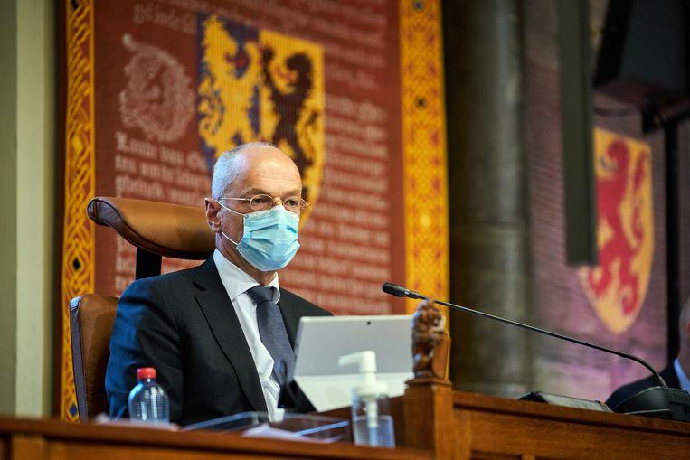 DEN HAAG - Eerste Kamervoorzitter Jan Anthonie Bruijn (VVD) tijdens een plenaire zitting in de Eerste Kamer. Beeld Hollandse Hoogte /  ANP