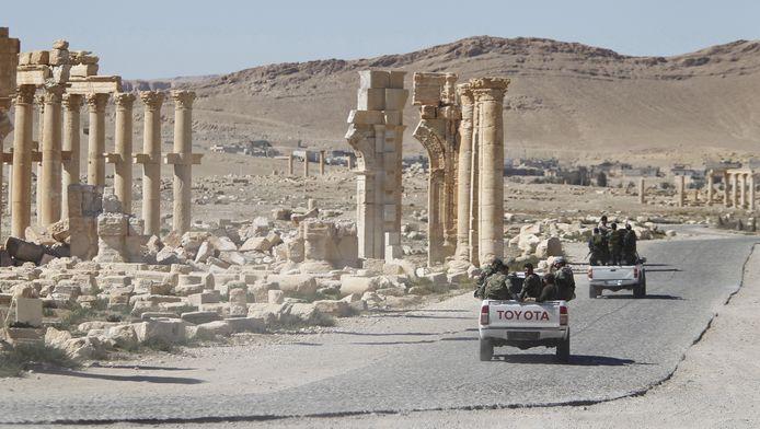 Syrische regeringstroepen in Palmyra in april dit jaar.