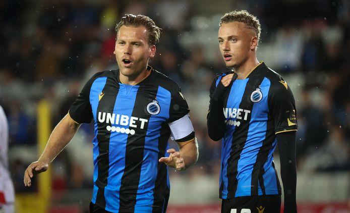 Ruud Vormen (links) en Noa Lang bij Club Brugge