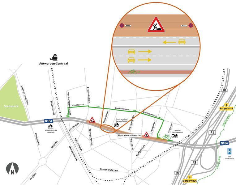 Het verkeer op de Plantin en Moretuslei moet door de rioleringswerken tussen de Wilrijkstraat en de Provinciestraat over één rijstrook rijden richting de stad. Ook in de andere richting zal er hinder zijn door de nutswerken, die tussen de Charlottalei en de Provinciestraat een rijstrook innemen.