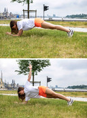 Oefening plank rotations.