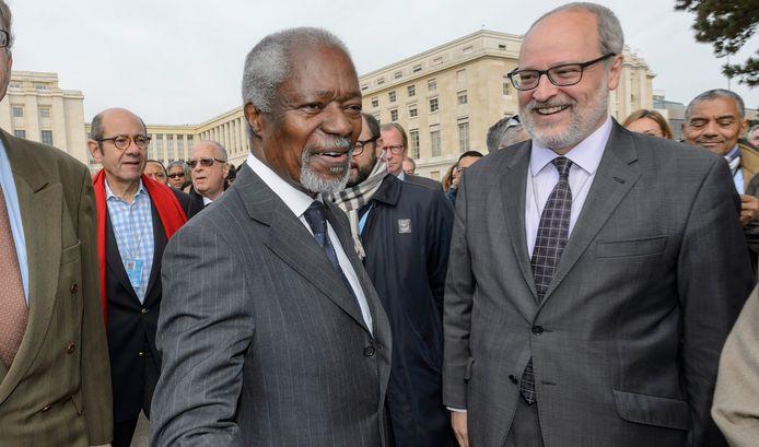 Kofi Annan, voormalig Secretaris-Generaal van de Verenigde Naties, afgelopen weekend in Geneve.