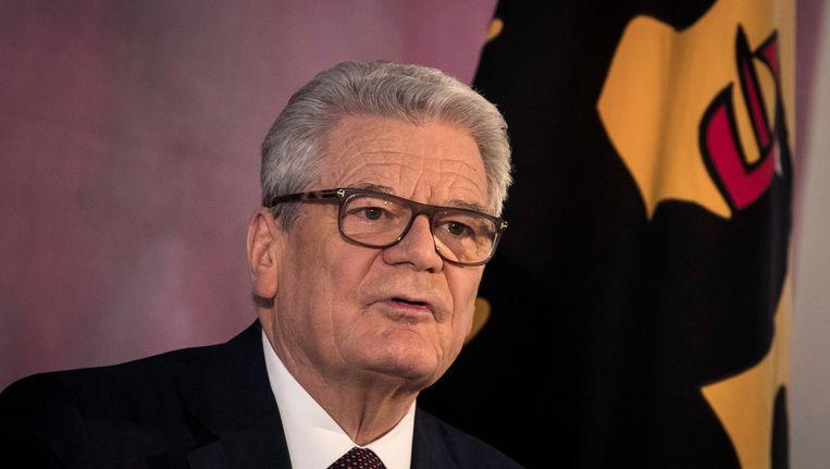 De scheidend president Gauck tijdens zijn afscheidsrede. Op 12 februari wordt de nieuwe president van de Bondsrepubliek gekozen. Beeld EPA