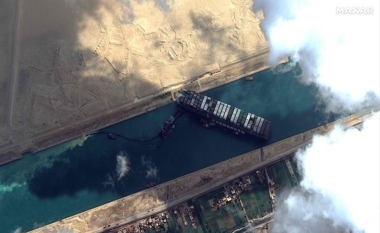 De baggeroperatie vanuit de lucht gezien.  Beeld AFP