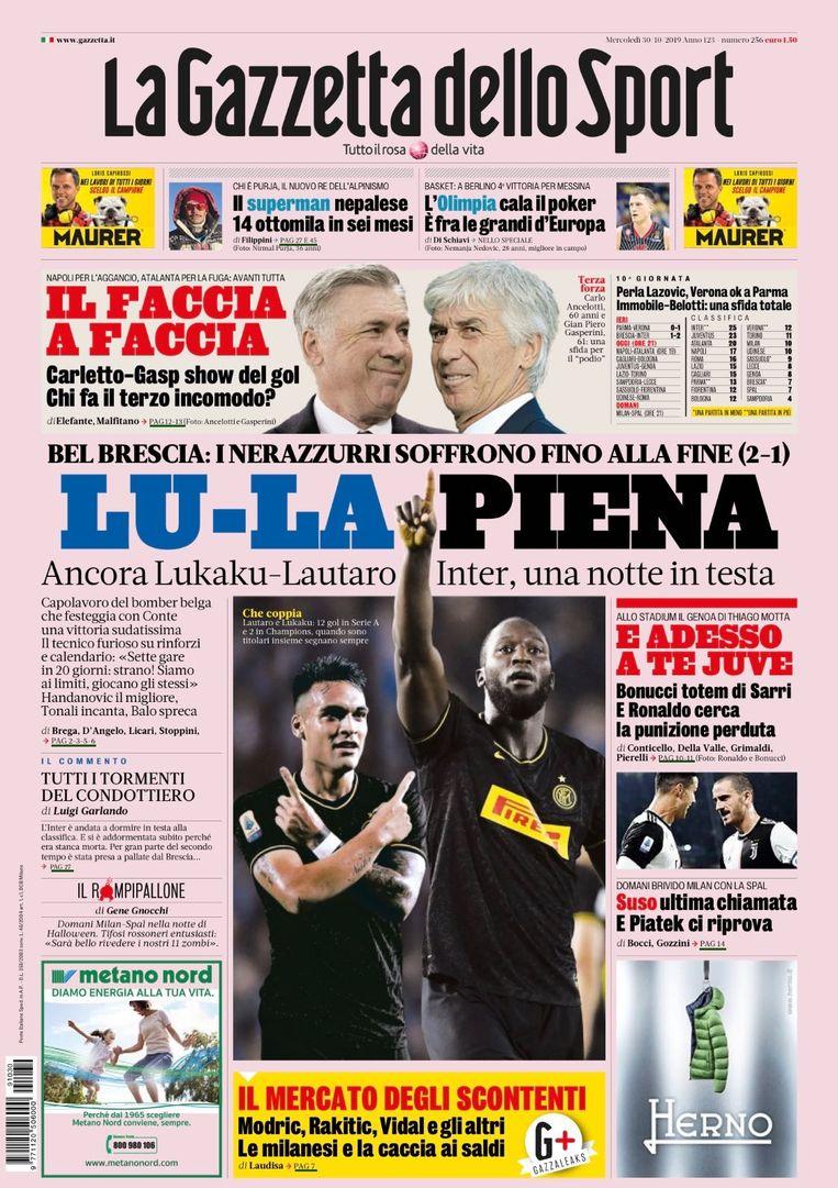 En ook op de voorpagina van La Gazzetta dello Sport staat onze landgenoot in het groot naast Lautaro Martinez.