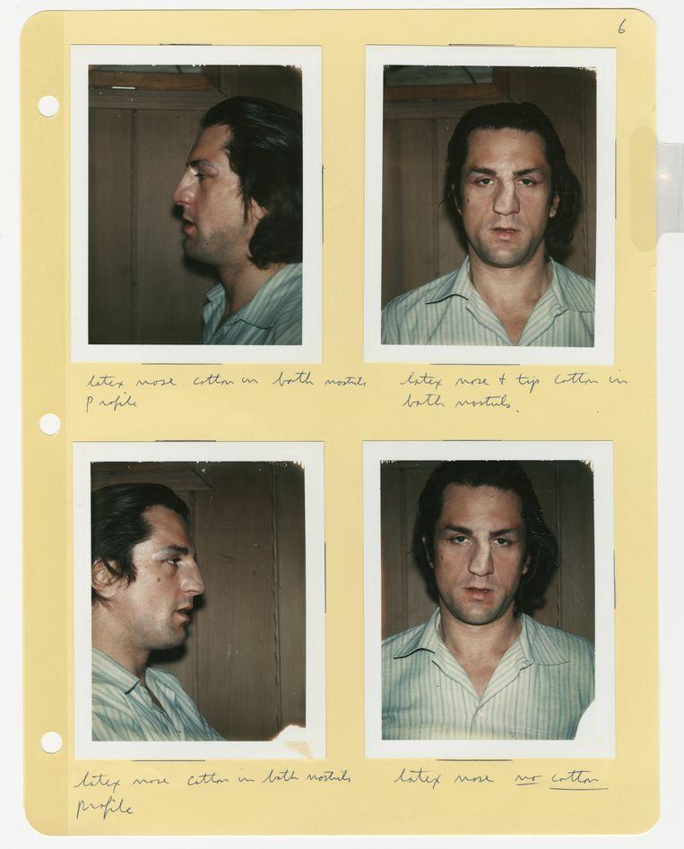 Robert De Niro met de 'gebroken' neus van Jake LaMotta, gemaakt door visagist Michael Westmore.   Beeld