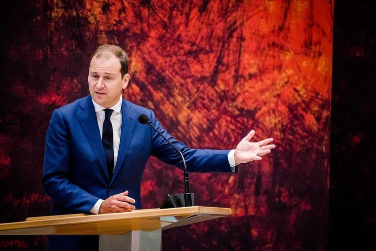 PvdA-leider Lodewijk Asscher (PVDA) tijdens het Tweede Kamerdebat over de ontwikkelingen van de economie en de noodmaatregelen om ondernemers door de coronacrisis te helpen.  Beeld ANP - Bart Maat