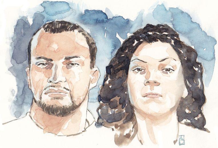 Een tekening van gangsterduo Antonio van der P. en Enise B. Beeld anp