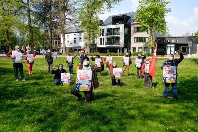 PVDA voerde in Halle actie in het stadspark.