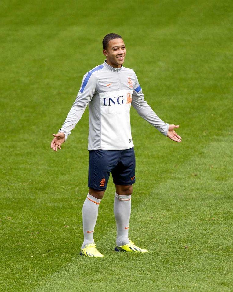 Memphis Depay debuteerde voor Oranje tegen Turkije. Beeld anp