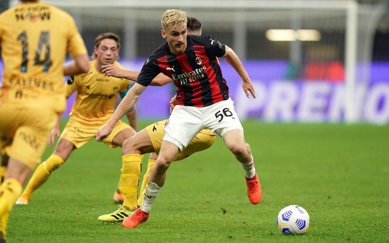 Alexis Saelemaekers vorige week met Milan in de voorlaatste kwalificatieronde van de  Europa League tegen het Noorse Bodo/Glimt. Beeld AP