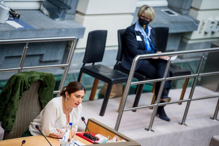 Vlaams minister van Energie Zuhal Demir (N-VA) woensdag in het parlement. Beeld BELGA