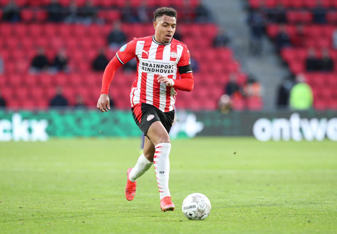 Donyell Malen in Eindhoven. Hij vertrekt bij PSV en gaat spelen voor Borussia Dortmund.