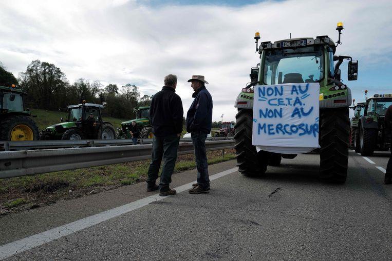 Ook in Frankrijk hebben boeren zich tegen Ceta gekeerd.  Beeld AFP