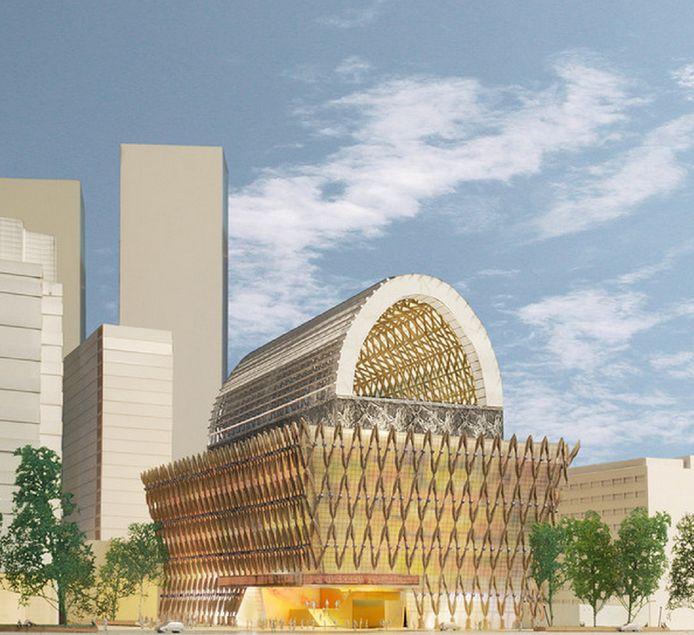 Het afgeschoten ontwerp van architectenbureau Neutelings Riedijk uit Rotterdam. Dit ontwerp ontketende veel verzet in de stad.