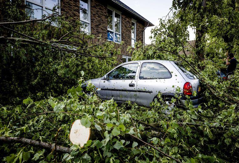 Een auto bedolven onder de ondergewaaide bomen in Leersum.  Beeld EPA