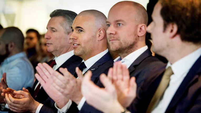 Louis Bontes en Joram van Klaveren tijdens het eerste partijcongres van VoorNederland (VNL). Beeld anp