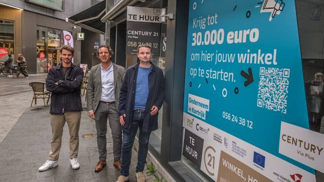 """Vitrinestickers promoten aantrekkingspremie voor ondernemers: """"Krijg tot 30.000 euro om hier jouw winkel op te starten"""""""