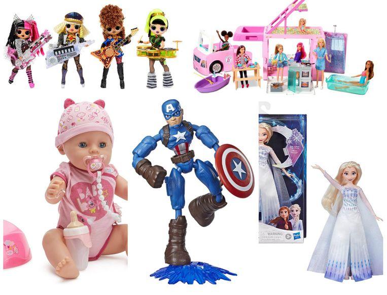 Boven: L.O.L Surprise! Remix OMG Super Surprise en Barbie 3-in-1 Droomcamper  Onder: Baby Born Interactieve Soft Touch Babypop meisje, Avengers Bend and Flexen Frozen II Zingende Elsa Beeld rv