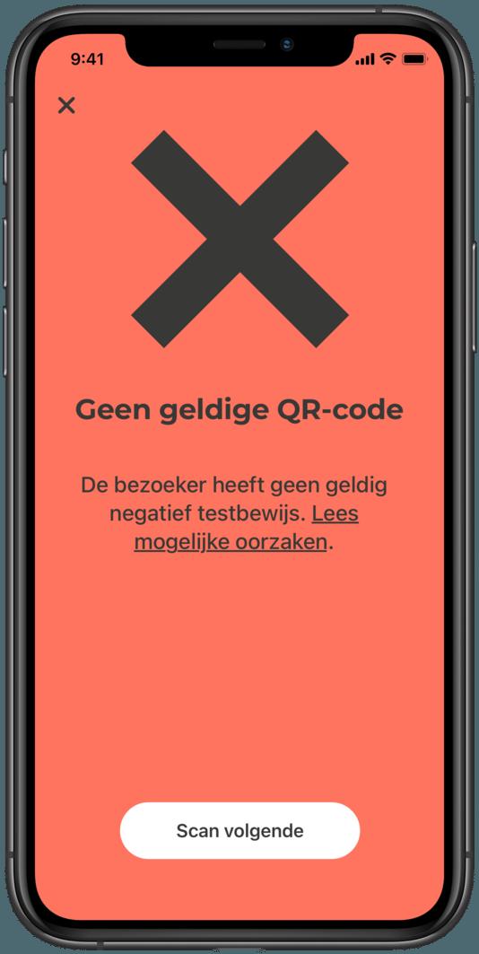 Het 'rode scherm' van de CoronaCheck-app.