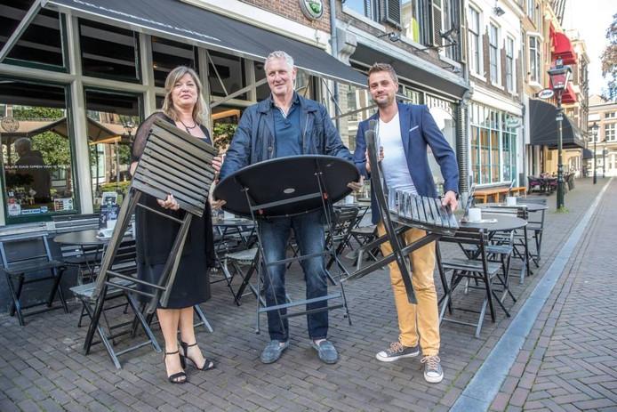 Andrea de Lange, Hans Langenkamp en Jelle van der Weerd willen geen terrad inleveren. Foto Frans Paalman