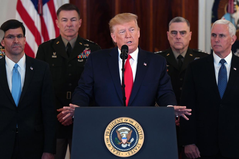 Amerikaans president Donald Trump spreekt de natie toe. Beeld AFP