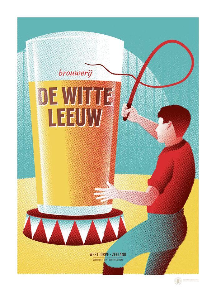 Hans Smeijsters ontwierp een nieuw affiche voor brouwerij De Witte Leeuw uit Westdorpe.