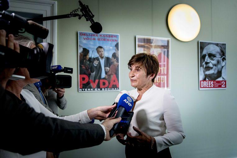 PvdA-Kamerlid Lilianne Ploumen reageert nadat haar app aan toenmalig fractieleider Lodewijk Asscher over PvdA-senator en onderwijsbestuurder André Postema in 2018 uitlekte.  Beeld ANP/Koen van Weel