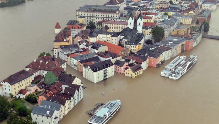 Ook de Duiste stad Passau, 440 kilometer ten zuiden van Berlijn, lijdt onder wateroverlast. Beeld AP