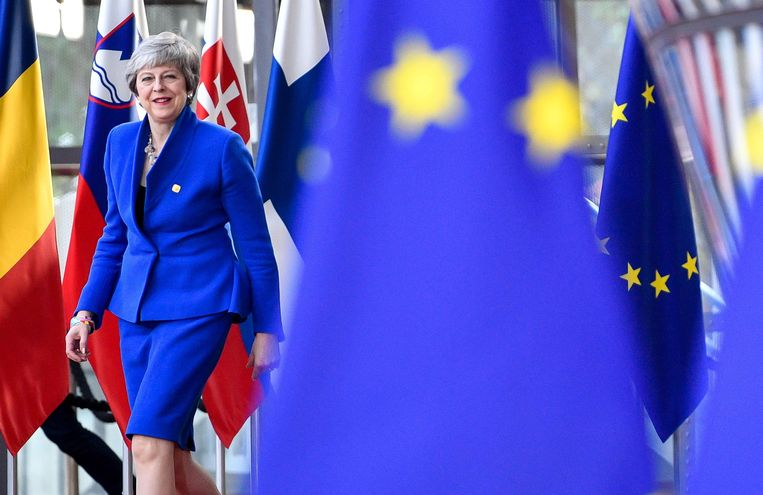 Premier Theresa May woensdag in Brussel, voor het Brexitoverleg. Beeld AFP