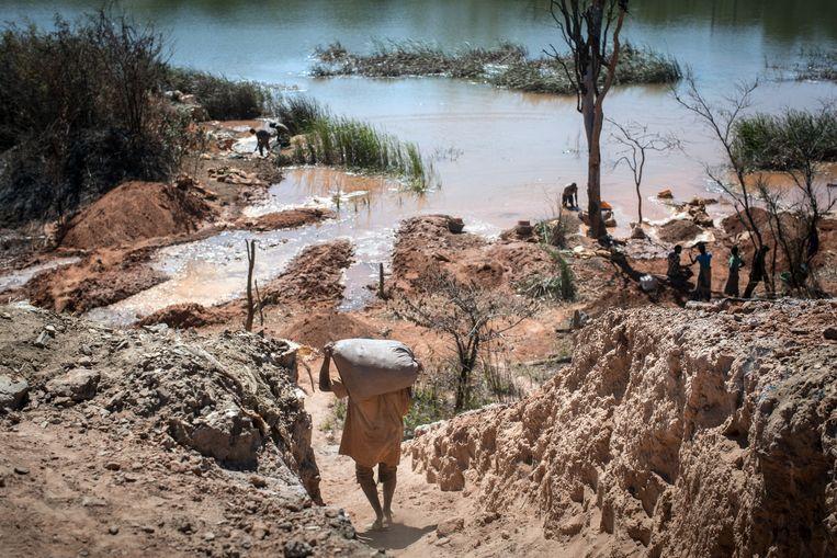 In Kolwezi proberen 130.000 Congolezen hun brood te verdienen in open kobaltmijnen. Beeld AFP