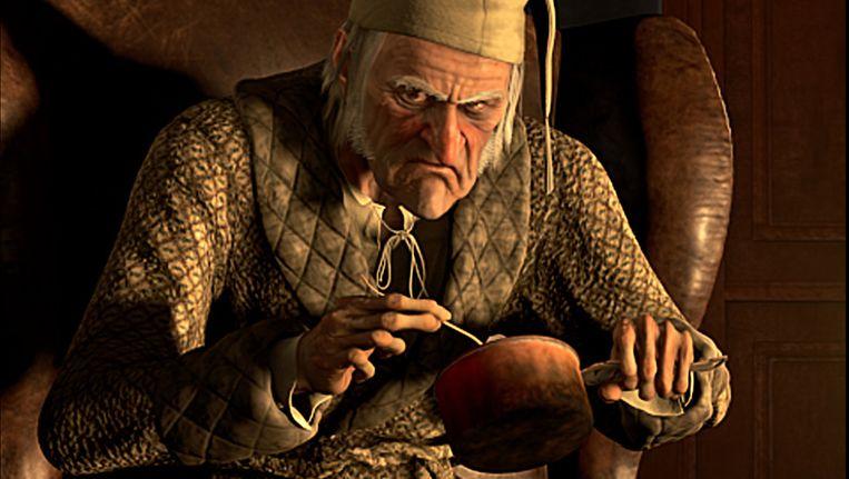 Ebenezer Scrooge, gespeeld door Jim Carrey, uit A Christmas Carol van Disney uit 2009. Beeld