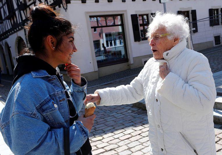 Lisel Heise voert campagne in Kirchheimbolanden.