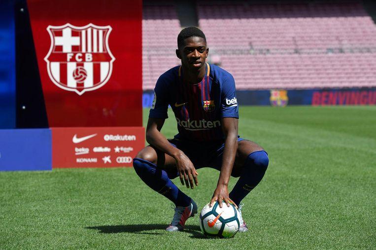 De Fransman Ousmane Dembele, 20 jaar, werd voor 105 miljoen euro gekocht door FC Barcelona. Beeld afp