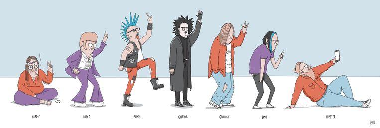 van hippie tot hipster illustratie Mat Beeld matmatmat