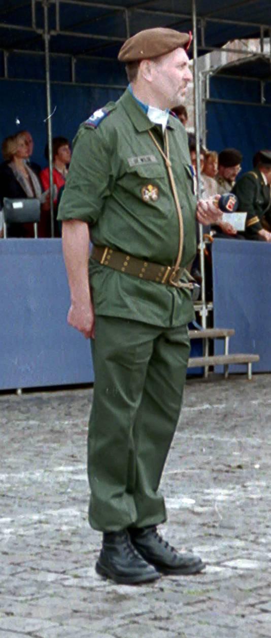 Adjudant-majoor Marcel De Wilde in actieve dienst.