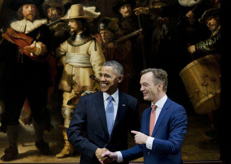 Pijbes ontving in 2014 de Amerikaanse president Barack Obama in het Rijksmuseum. Beeld anp