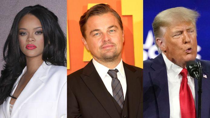 Rihanna, Leonardo DiCaprio en Donald Trump