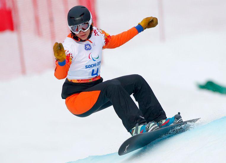 Bibian Mentel in actio op de Olympische spelen in 2014. Beeld AP